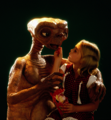 Two cuties: Little Drew and the alien with heart.